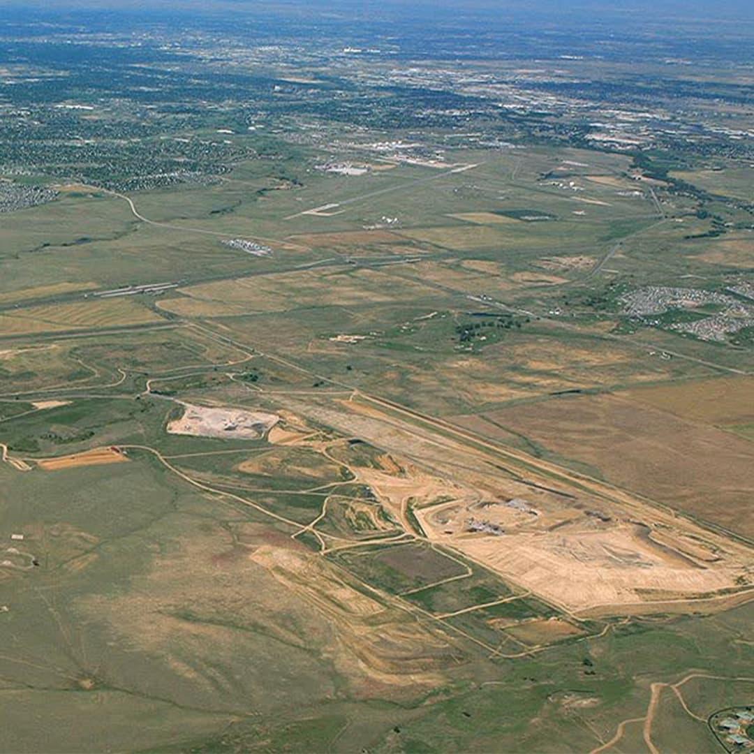 aerial shot of landfill