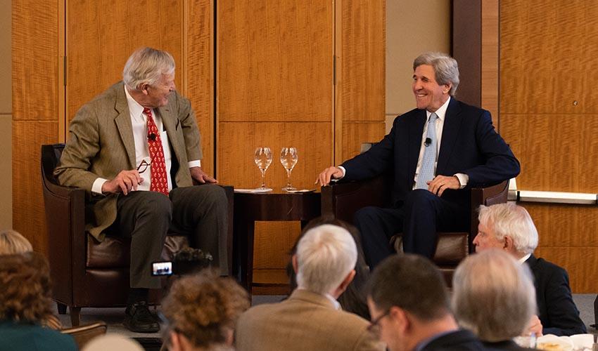 Former Senator Tim Wirth and Former Secretary of State John Kerry