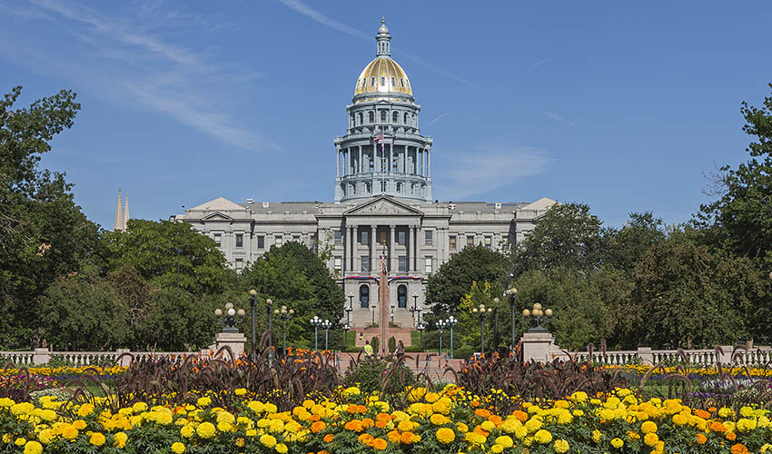 Flower bed in full bloom in front of the State Capitol Building in Denver
